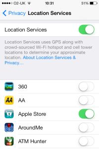 iOS 7 location services
