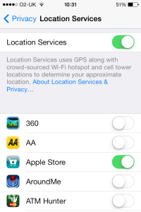 iOS 7 location services