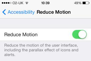 iOS 7 reduce motion